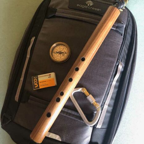Travelers Saxophone on backpack with camping gear